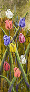 Drips Paintings - Splashy Tulips by Vic  Mastis