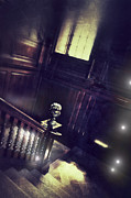 Haunted House Prints - Spooky Stairway Print by Jill Battaglia