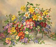 Signed Painting Prints - Spring Flowers and Poole Pottery Print by Albert Williams