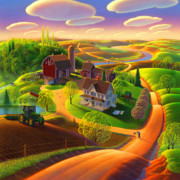 Folk  Paintings - Spring on the Farm by Robin Moline