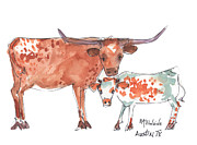 Longhorn Paintings - Springs Surprise by Kathleen McElwaine