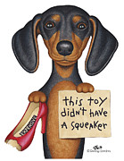 Dachshund Art Posters - Squeakers Poster by Danny Gordon