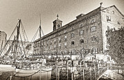 Inn River Framed Prints - St Katherines Dock London sketch Framed Print by David Pyatt