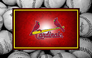 Baseball Bat Photo Framed Prints - St Louis Cardinals Framed Print by Joe Hamilton