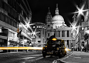 London Cab Posters - St pauls with Black Cab Poster by Ian Hufton
