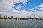Boats Tapestries Textiles - St Petersburg Marina by Bill Cannon