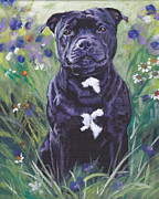 Bull Terrier Paintings - Staffordshire Bull Terrier by Lee Ann Shepard
