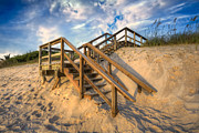 Wooden Stairs Posters - Stairway to Heaven Poster by Debra and Dave Vanderlaan