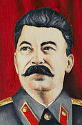 Soviet Union Painting Framed Prints - Stalin Framed Print by Michal Boubin