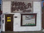 Courage Pastels Framed Prints - Stans Barber Shop Menominee Framed Print by Jonathon Hansen