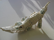 Animal Sculpture Sculpture Metal Prints - Starbucks Gator Metal Print by Alfred Ng