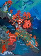 Jane Wilcoxson Art Painting Prints - Starfish Reef Print by Jane Wilcoxson