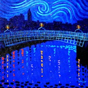 Monochromatic Paintings - Starry Night In Dublin by John  Nolan