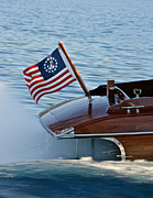 Mahogany Red Photo Prints - Stars and Stripes on the Water Print by Steven Lapkin