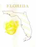 Yellow Drawings Originals - State of Florida by Dusty Reed