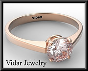 Romantic Rose Jewelry - Statement Pink Morganite Solitaire 14k Rose Gold Engagement Ring by Roi Avidar