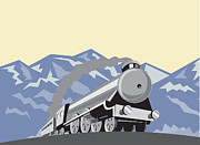 Steam Metal Prints - Steam Train Locomotive Mountains Retro Metal Print by Aloysius Patrimonio