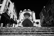 Front Steps Photos - Steps Leading Up To Facade Of Tarragona Cathedral Catalonia Spain by Joe Fox