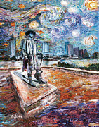 Stevie Ray Vaughn Painting Originals - Stevie Ray Gogh by GretchenArt FineArt