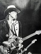 Featured Drawings Posters - Stevie Ray Vaughan Poster by Charles Rogers