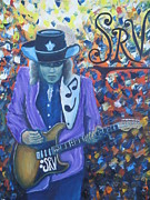 Rock And Roll Painting Originals - Stevie Ray Vaughan by Charles Vaughn