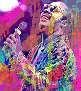 Pop Singer Framed Prints - Stevie Wonder  Framed Print by David Lloyd Glover
