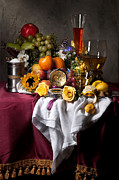 Banquet Prints - Still Life with Fruits and Drinking Vessels Print by Levin Rodriguez
