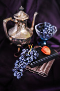 Silver Bowl Prints - Still Life With Grapes And Silver Teapot Print by HD Connelly