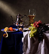 Banquet Prints - Still life with Roemer and Silver Tea Pot Print by Levin Rodriguez