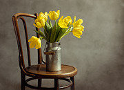 Can Prints - Still Life with Yellow Tulips Print by Nailia Schwarz