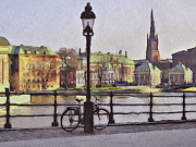 Urban Nature Study Digital Art Metal Prints - Stockholm 6 Metal Print by Yury Malkov