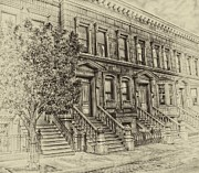 Brownstone Art - Stoop Ball Anyone by Arnie Goldstein