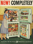 Nineteen Fifties Posters - Stor-mor  1950s Uk Fridges Freezers Poster by The Advertising Archives