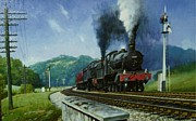 1950s Painting Framed Prints - Storming Dainton Framed Print by Mike  Jeffries