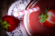 Food And Beverage Photos - Strawberry smoothie by Jane Rix