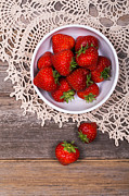 Tabletop Posters - Strawberry vintage Poster by Jane Rix