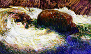 Mountain Stream Paintings - Stream Somewhere in the Rockies by John Lautermilch