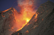 Volcanic Activity Framed Prints - Strombolian Type Eruption Of Batu Tara Framed Print by Richard Roscoe