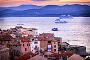 Boat Cruise Prints - St.Tropez at sunset Print by Elena Elisseeva