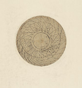 Library Drawings - Study of water wheel from Atlantic Codex by Leonardo Da Vinci