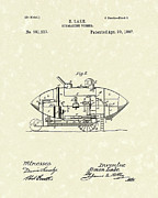 Lake Drawings Framed Prints - Submarine 1897 Patent Art Framed Print by Prior Art Design
