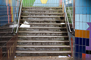 Grime Metal Prints - Subway Stairs Metal Print by Fizzy Image