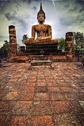 Church Pillars Prints - Sukhothai Buddha Print by Adrian Evans