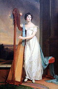 Thomas Sully Prints - Sullys Lady With A Harp -- Eliza Ridgely Print by Cora Wandel