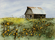 Field Of Sunflowers Paintings - Summer Ballet by Monte Toon