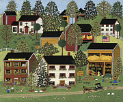 Folk Art Paintings - Summer Hills by Medana Gabbard