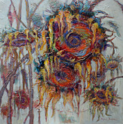 Sunflower Oil Paintings - Summer Memories by Ingrid Bolton