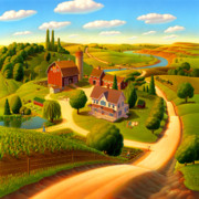 Grant Wood Paintings - Summer on the Farm  by Robin Moline