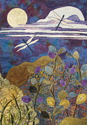 Fabric Collage Tapestries Textiles Prints - Summer Twilight Print by Lynda K Boardman