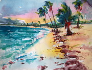 Puerto Rico Painting Metal Prints - Sun Bay Vieques Puerto Rico Metal Print by Barbara Richert
